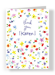 Scattered Flower Thank You 5x7 Folded Card