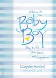 Blue Striped Baby Congrats 5x7 Folded Card