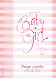 Pink Striped Baby Congrats 5x7 Folded Card