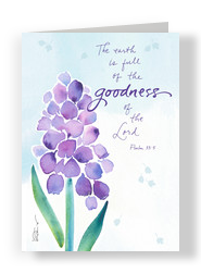 Religious Purple Flower Easter 5x7 Folded Card