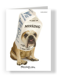 Miss You Bulldog 5x7 Folded Card