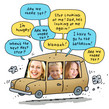 Car Trip Kids 4.75x4.75 Folded Card
