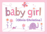 Baby Girl 7x5 Folded Card