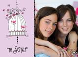 Birdcage Sister 7x5 Folded Card