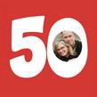 50 Photo Birthday 4.75x4.75 Folded Card