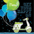 Moped Balloons 4.75x4.75 Folded Card