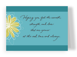 Teal Flower Sympathy 7x5 Folded Card