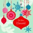 Holiday Aqua Ornaments 4.75x4.75 Folded Card