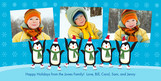 Skating Penguin Line 8x4 Flat Card