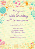 Awesome Birthday Doodles 5x7 Flat Card