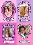 Pink Valentine Frames 5x7 Flat Card