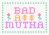 Needlepoint Bad Ass Mutha 7x5 Folded Card