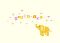 Yellow Elephant 5.25x3.75 Folded Card