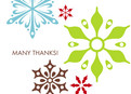 Color Snowflakes Thanks 5.25x3.75 Folded Card
