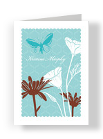 China Blue Floral Note 3.75x5.25 Folded Card