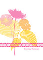Yellow Pink Floral Note 3.75x5.25 Folded Card