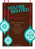 Turquoise Ornaments Party 5x7 Flat Card