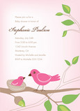 Pink Baby Bird Shower 5x7 Flat Card