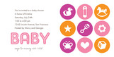 Pink Baby Stamps Shower 8x4 Flat Card
