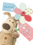 Boofle Flower Get Well 5x7 Folded Card