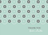 Teal Floral Band Thanks 5.25x3.75 Folded Card