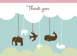 Animal Mobile Thanks 5.25x3.75 Folded Card