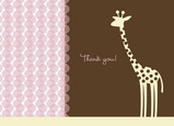 Giraffe Dot Pink Thanks 5.25x3.75 Folded Card