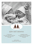 Blue Brown Sailboats 5x7 Flat Card