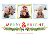 Merry and Bright Christmas Garland 7x5 Flat Card