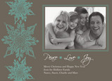Teal Snowflake Peace 7x5 Flat Card