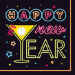 Neon New Year 4.75x4.75 Folded Card