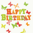 Colorful Birthday Butterflies 4.75x4.75 Folded Card