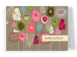 Flower Field Birthday 7x5 Folded Card
