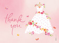 Rose Wedding Dress Thank You 5.25x3.75 Folded Card
