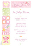 Pink Icon Baby Shower 5x7 Flat Card