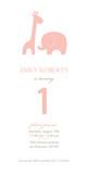 Pink Giraffe Elephant 4x8 Flat Card