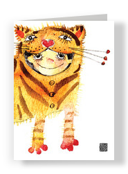 Girl In Tiger Costume 5x7 Folded Card