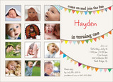 First Birthday Banner 7x5 Flat Card