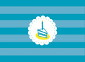 Aqua Birthday Cake 5.25x3.75 Folded Card