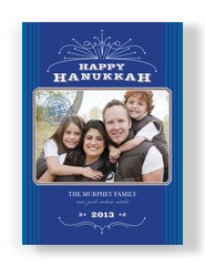 Ornate Blue Hanukkah 5x7 Flat Card