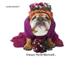 Purple Bridesmaid Dog 7x5 Folded Card