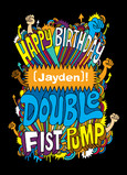 Double Fist Pump Birthday 5x7 Folded Card