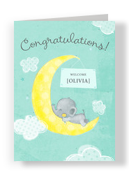 Elephant Crescent Moon 5x7 Folded Card