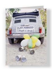 Just Married Car 5x7 Folded Card