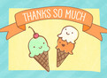 Ice Cream Thanks 5.25x3.75 Folded Card