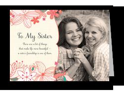 Flower Sister Frame 7x5 Folded Card