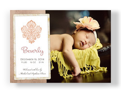Girl Damask Photo 7x5 Flat Card