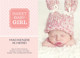 Sweet Baby Girl 7x5 Flat Card