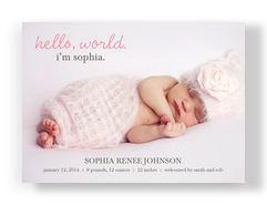Pink Hello World 7x5 Flat Card
