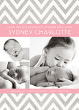 Gray Pink Chevron 5x7 Flat Card